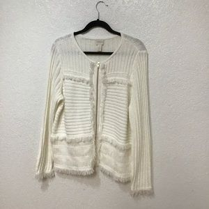 Chicos Chico's fringe sweater Cardigan off-white,